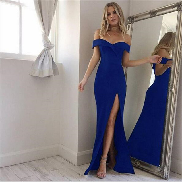 2018 New Summer Elegant Women Sexy Evening Party Black Blue Long Dress Slim Cotton Maxi Dress Robe Longue Femme Vestido De Festa 1