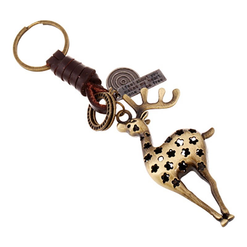 Punk Vintage Cartoon Deer Star Pendants Genuine Leather Keychain For Men Women Key Ring Car Auto Bag Key Chain Accessory 6C1423