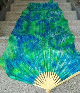 Image 2 - Профессиональная шелковая Фата для танца живота Neilos, черный цветок на зеленом фоне, длинные вееры для танца живота разных размеров, бесплатная доставка