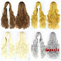 Hot Sale 80cm Long Curly Wigs Heat Resistant Cheap Synthetic Wig Anime Wig Party Cosplay Wigs Brown White 20 Colors available