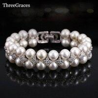 ThreeGraces Nieuwste Bruids Sieraden Accessoires Handgemaakte Zoetwater Dubbele Parel Grote Bruiloft Armbanden Armbanden Met Zirconia BR066