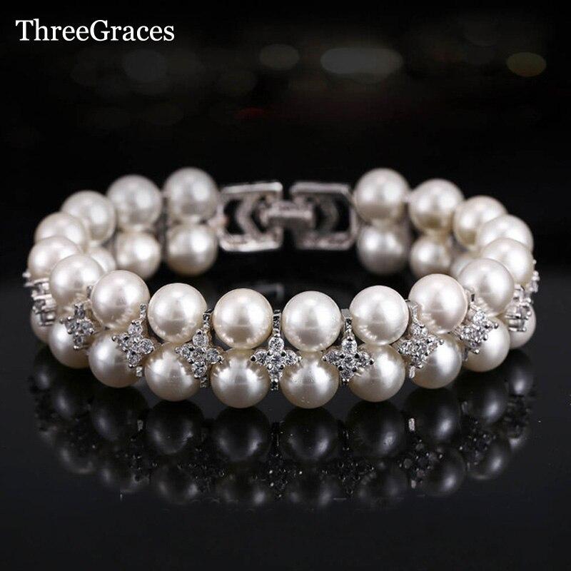 ThreeGraces Yeni Gelin Takı Aksesuarları El Yapımı Tatlısu Zirkonya BR066 Ile Çift Inci Büyük Düğün Bileklikler Bilezikler