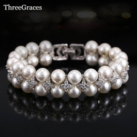 2015 Newest Bridal Jewelry Accessories Handmade Freshwater Double Pearl Big Wedding Bracelets Bangles With CZ Diamond
