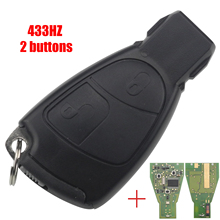 Jingyuqin 2 Buttons Remote Smart Car Key FOB for Mercedes Benz B C E ML S CLK CL 433MHZ + Chip Circuit Board Accessories