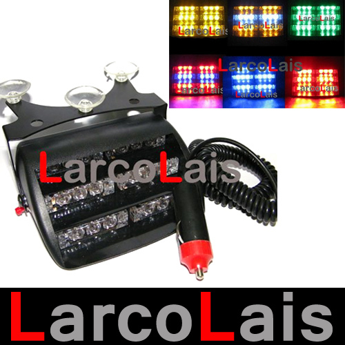 Amber Led Strobe Lights >> 18 LED Strobe Lights with Suction Cups Car Fireman Flashing Emergency Warning Yellow White Blue ...