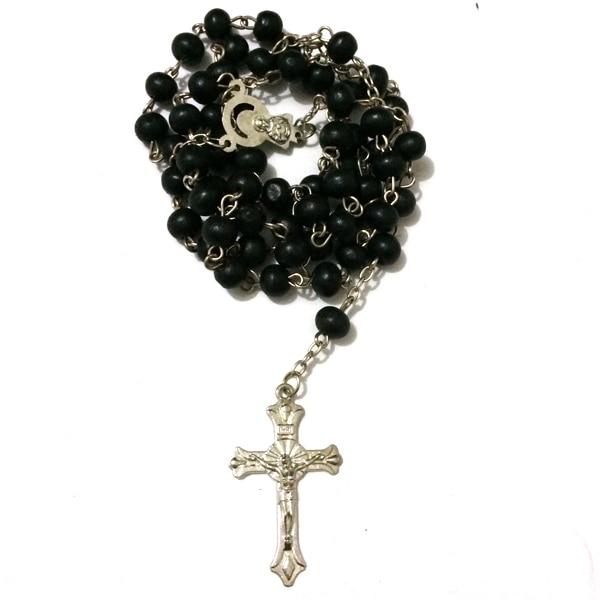 12pcs/lot mix colors Saint benedict Rosary Cross necklace Black wood beads large crucifix St benedict medal free ePacket ship