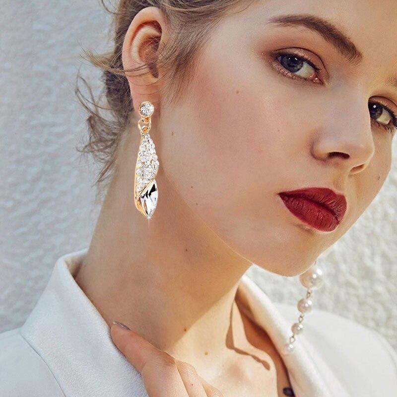 1 пара, модные серьги для девочек, женские серьги-капли с кристаллами, модное ювелирное изделие, свадебные серьги для пирсинга, свисающие серьги, 4 цвета