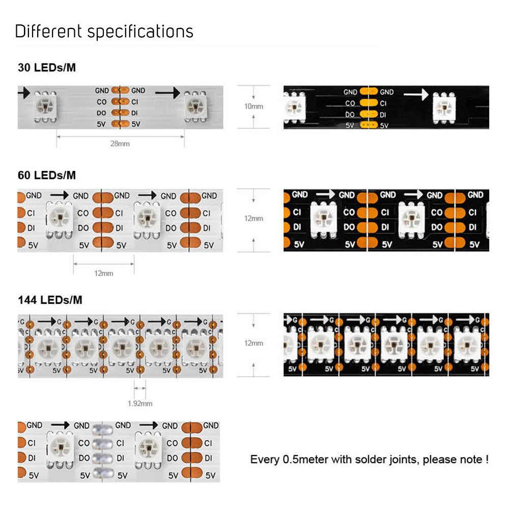 SK9822 (аналог APA102) 1 m/5 m Smart led пикселей полосы, 60 светодиодов/пикселей/м, IP30/IP65/IP67, адресные данные и часы отдельно DC5V