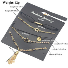 6 pieces each set of alloy new fashion retro anklet fringed square round piece bracelet womens ankle gift