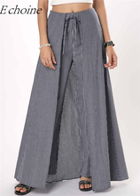 Women Culotte Bow Tie Stripe Pants Wide Leg Skirt Elegant Office Lady Trousers Hight Waist Lace Up Trouser 2019