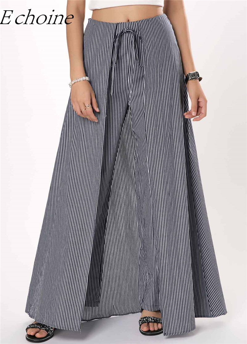 Women Culotte Bow Tie Stripe   Pants     Wide     Leg     Pants   Skirt Elegant Office Lady Trousers Hight Waist Elegant Lace Up Trouser 2019
