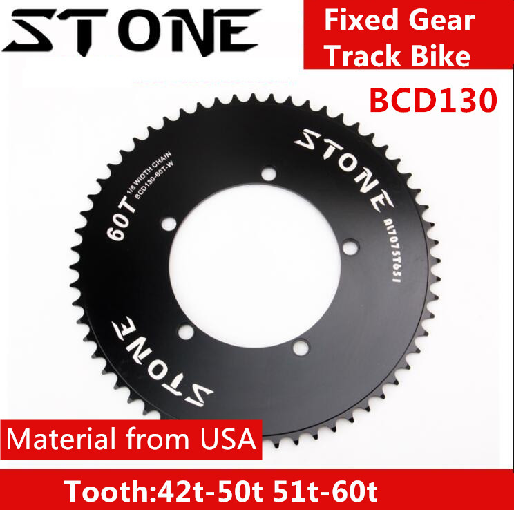 Stone 130 BCD chainring fixed gear track bike fixie Round single 42T 46T 48T 50T 52t 54 58t 60t mountain MTB Chainwheel 130bcd chainring round 110bcd 32t 34 t36t 38t 40t 42t 44t 46t 48t 50t 52t 54t 56t 58t 60t cycling chainring bike crown 5 holes