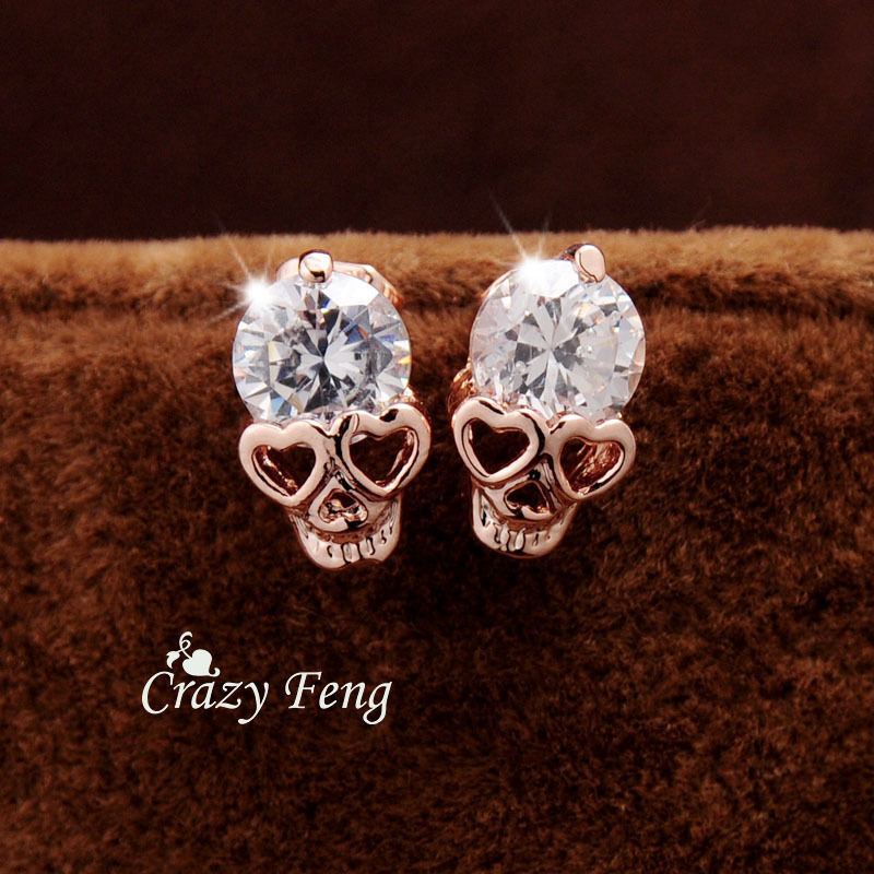 Valentine's Day Gift Trendy Earrings For Women's/Girl's Yellow  CZ Crystal Skull Pierced Stud Earrings Jewelry Gift