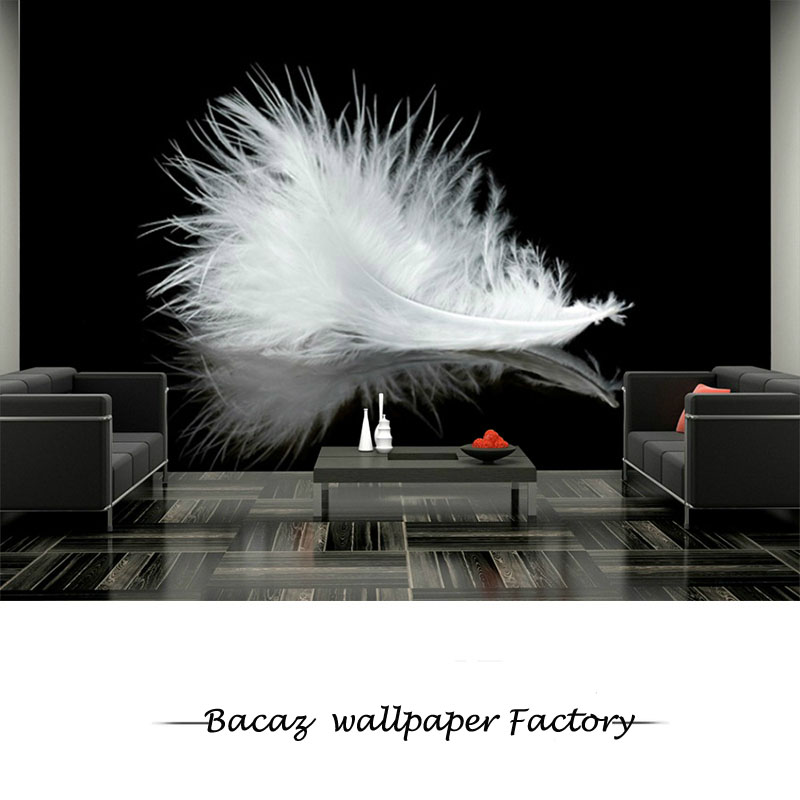 Bacaz Black bottom White Feather 8D/3d Wallpaper Mural 8d Feather Mural Wall paper for Sofa Background Bar Cafe 3d Photo Mural free shipping hepburn classic black and white photographs women s clothing store cafe background mural non woven wallpaper