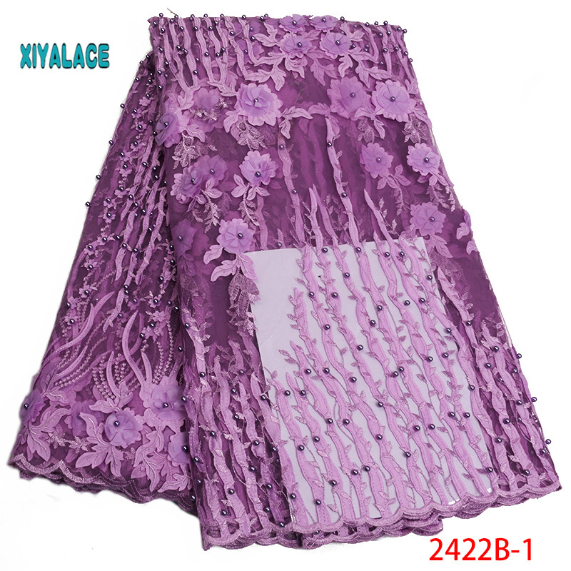 Nigerian Beaded Lace Fabric 2019 High Quality African 3D Net Lace Fabric Wedding French Tulle Lace Material For Dress YA2422B-1