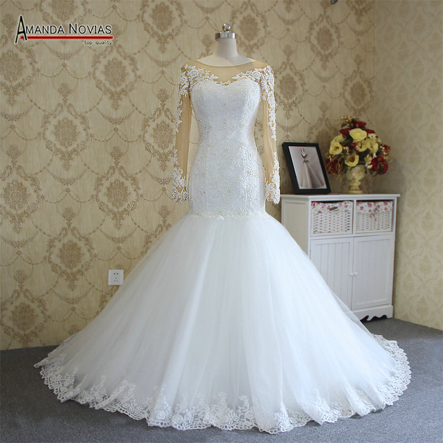 2019 Long Sleeves Mermaid Wedding Dress Amanda Novias Actual Photos 100%  Real Work 2b3de61ca6d9