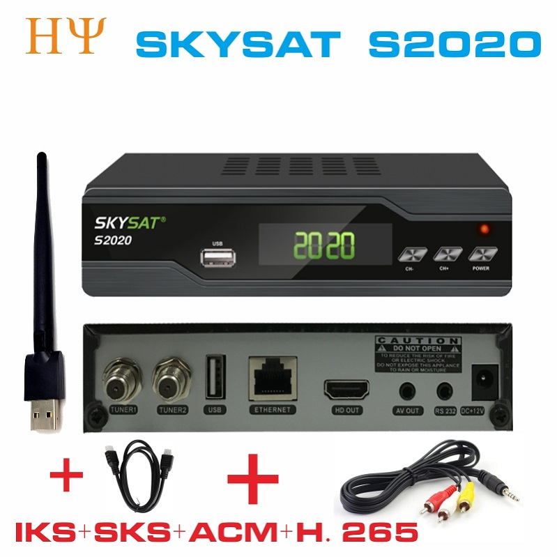 2PCS LOT SKYSAT S2020 Twin Tuner IKS SKS ACM M3U Xtream code H 265 Satellite Receiver