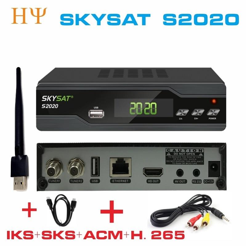 2PCS LOT SKYSAT S2020 Twin Tuner IKS SKS ACM M3U Xtream code H 265 Satellite Receiver