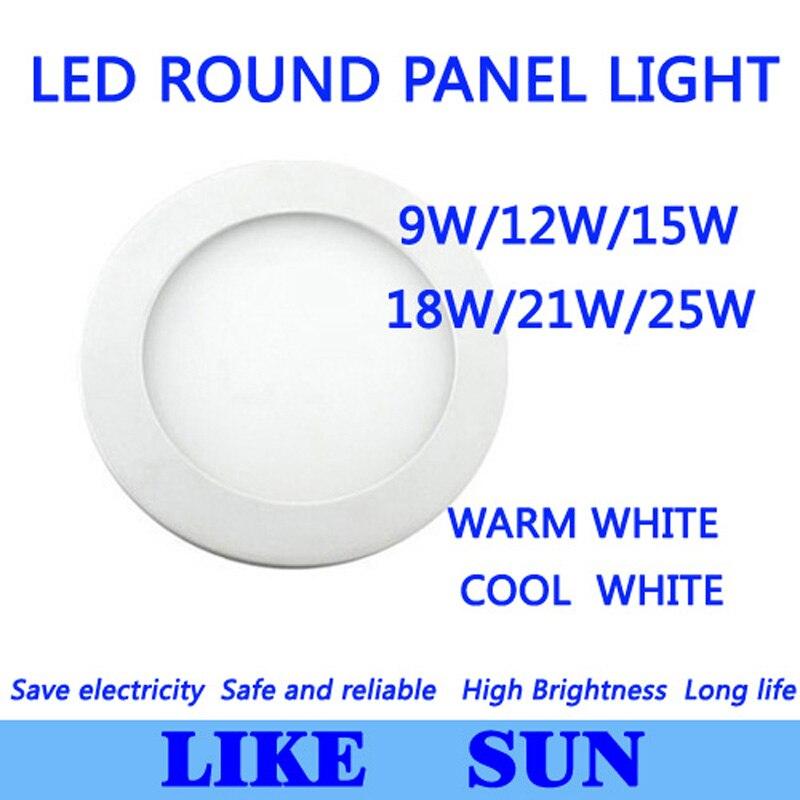 Высокая мощность Led Панель свет SMD2835 9 Вт, 12 Вт, 15 Вт, 18 Вт, 21 W 25 W 2200LM 110-240 V Потолочная люстра лампочка, лампа направленного света Светильник направленного света