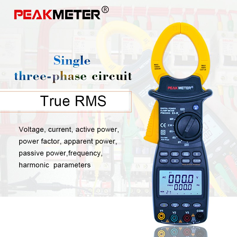 PEAKMETER Digital Clamp Meter MS2203 MS2205 Single/3-Phase Digital Power True-RMS 4 Wire Harmonious Clamp Current Circuit Meter цена