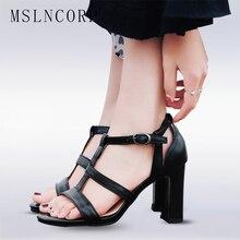 plus size 34-43 New Fashion women sandals summer shoes high heel T strap dress party OL sexy Square Heels Ladies Elegant Sandal