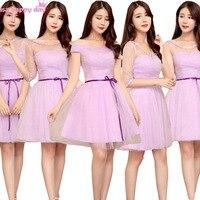 Liliowy wrap jasny fiolet rękaw tulle suknie druhna panny młodej maid dziewczyna elegancki formalna suknia ball gwon na wesela B3813