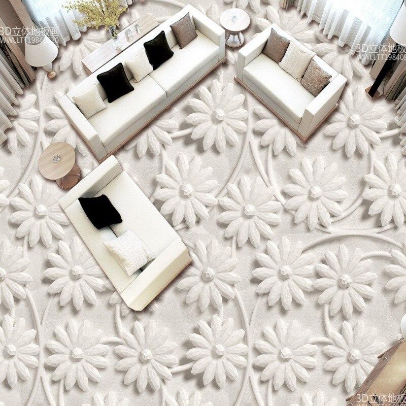 Buy Free shipping 3D stereo flower floor custom art office mural non-slip bedroom wall paper
