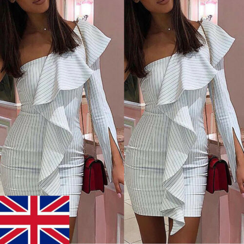 2019 Summer Dress Women Sexy Ruffles Bodycon One Shoulder Striped Dress Casual Irregular Pencil Dress Girls Beach Mini Dresses