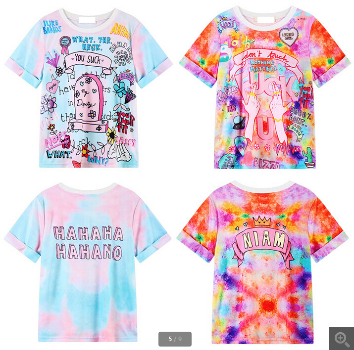 Aliexpress Buy Harajuku Women T Shirt 2015 Fashion Short Sleeve Summer Clothes For Print Ice Cream Color Graphic Tees Womens Tshirts From