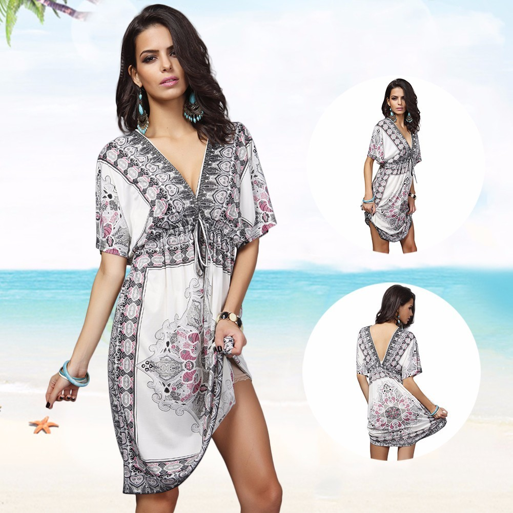 Beach Cover up Plus Size Dress 2017 New Swimwear Women Flower Print Sheer Loose Elastic Waist Blouse Beach Cover Up Beachwear maxi plus size flounce wrap beach dress
