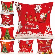 1Pc Linen Christmas Decorations Pillowcase For Home Xmas Pillowcases Red Pillow Case Car Sofa Cushion Cover Set Home Accessories(China)