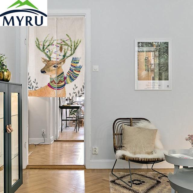 MYRU Nordic elch kreative baumwolle tür vorhang küche vorhang ...