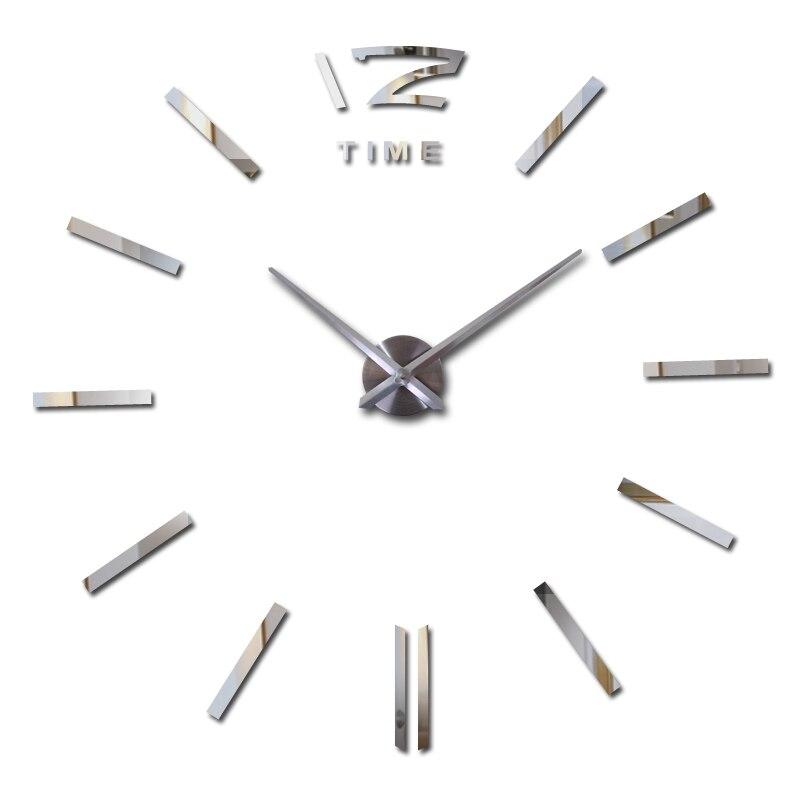 הצעה מיוחדת 3d גדול אקריליק מראה קיר קצר diy קוורץ שעון עדיין חיים שעונים עיצוב הבית סלון מדבקות