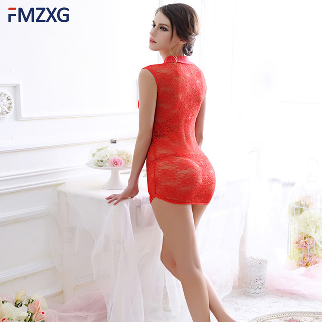 00820a8e59 2018 New Sweet Young Women Sexy Lingerie Silk Nightgown Printed Fashion Knee -length Girl Sleepwear
