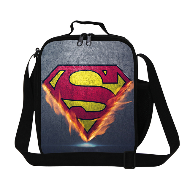 Cartoon thermal lunch bags for boys Cool style insulated lunch box for man office Insulation messenger lunch cooler bag children