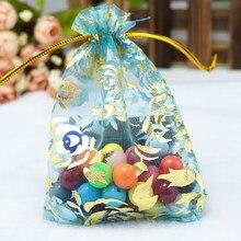 7x9 cm 200 pçs/lote Azul Sacos de Organza Sacos de Presente de Embalagens Para Doces Casamento Promotiont Rose Jóias Embalagem Organza malotes