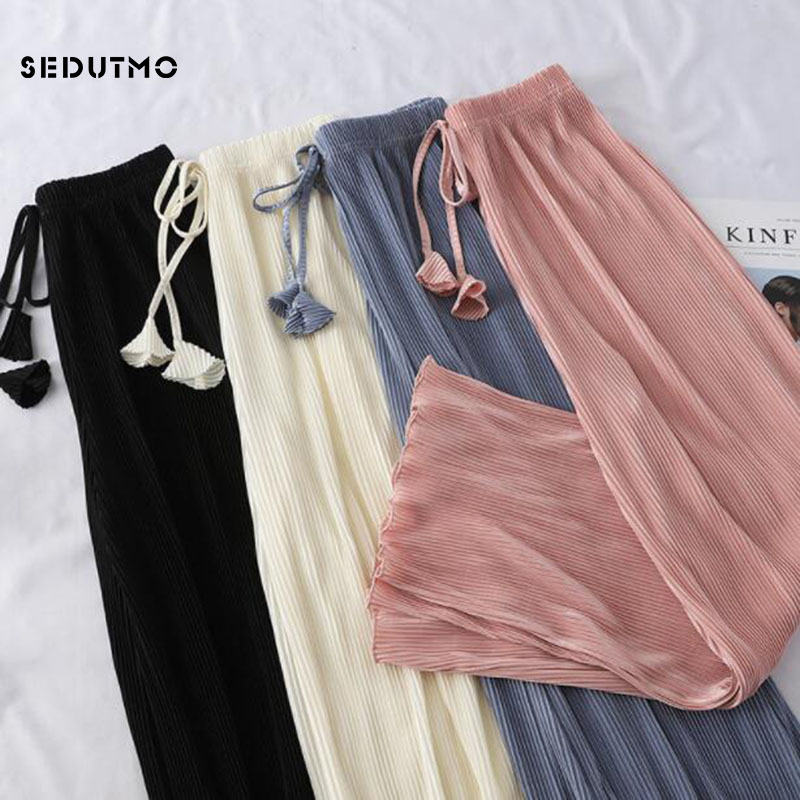SEDUTMO High Waist   Wide     Leg     Pant   Women Summer Slim Trousers Oversize Elastic   Pants   Vintage Streetwear Sweatpants ED816