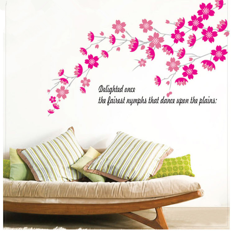 Purple Romantic Big Flower Wall Stickers Home Decor: Romantic Flower Bedroom Decoration Wall Stickers Diy