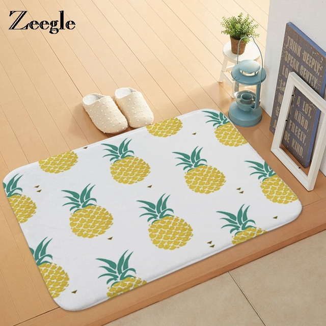 Fresh Zeegle Pineapple Bathroom Bath Mat Printed Rugs And Carpets For Home Living Room Anti Slip Lovely - Elegant yellow kitchen rugs New