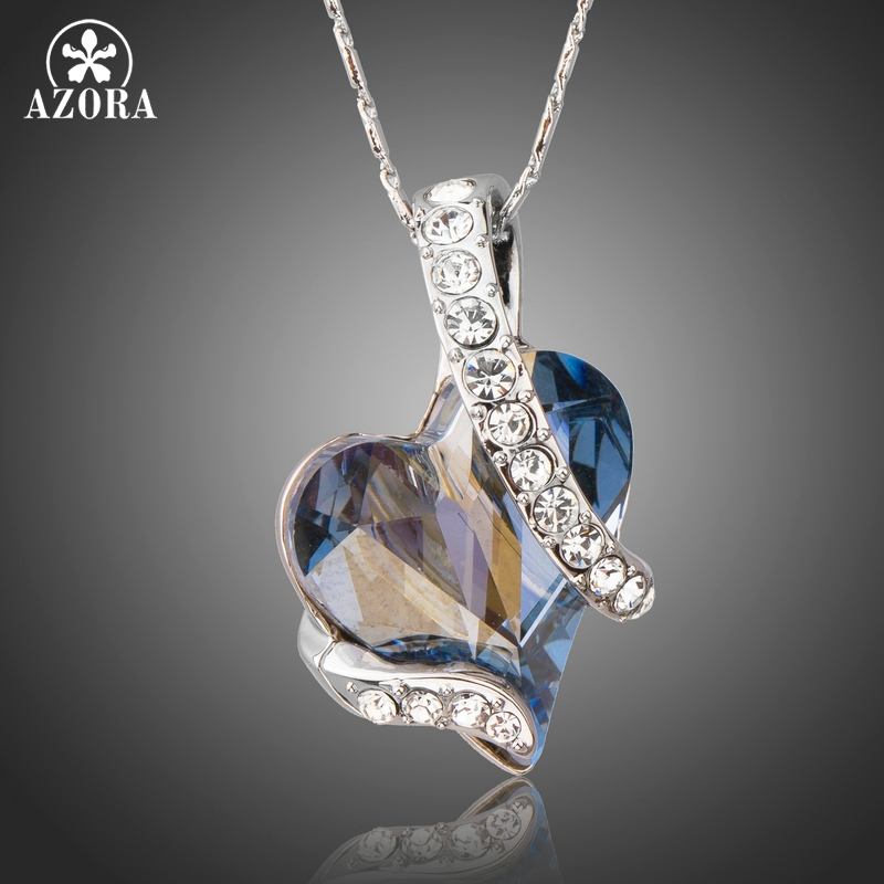 AZORA Forever Love Light Blue Heart Stellux Austrian Crystal Classic Pendant Necklaces for Valentine's Day Gift of Love TN0195 azora sparking sea blue top stellux austrian crystal octopus animal pin brooch tp0051