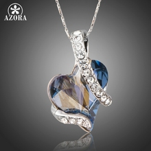 AZORA Forever Love Light Blue Heart Stellux Austrian Crystal Classic Pendant Necklaces for Valentine's Day