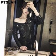 Ptslan 2017 New Women'S Genuine Leather Jacket Female Real Lambskin Sheepskin Dress