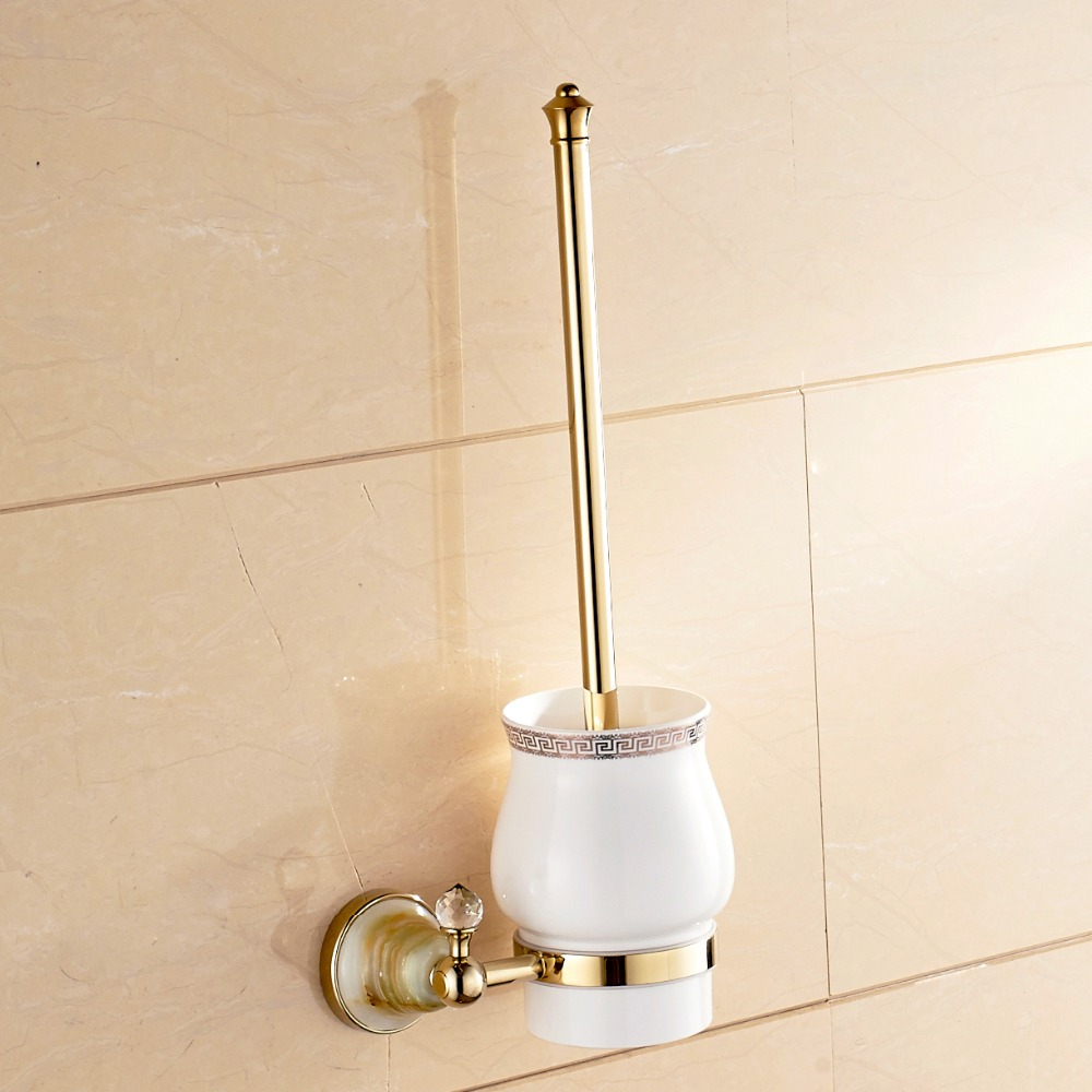 Luxury Gold Toilet Brush Cup Brush Holder Golden Brass Holder Wall Mounted
