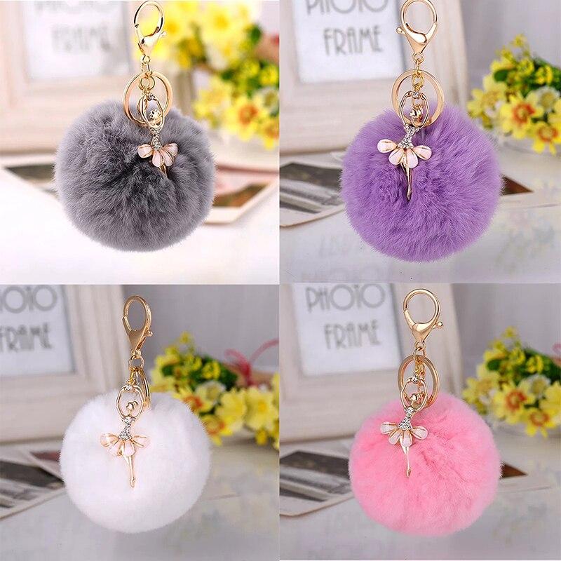 Korea Creative Cute Rhinestone Angel Car Keychain Female Bag Pendant Plush Rex Rabbit Hair Ball Key Chain Pendant