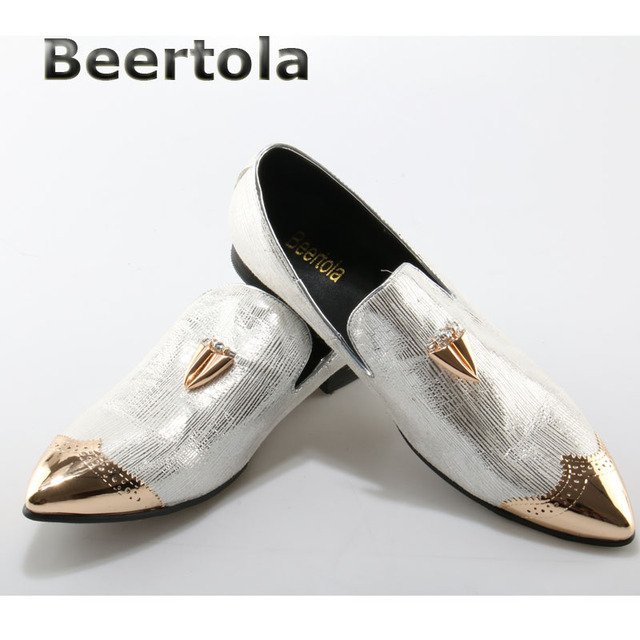 b27ff0f6e3ad Beertola Fluting Silver Flats Slip On Mens Silver Dress Shoes Gold Pointed  Toe Metallic Mens Shoes Casual Mens Loafers Leather