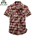 AFS JEEP  Plaid Short-sleeved Shirt Men Casual Summer Cotton Solid Shirt Camisa masculina Tutn-down Collar Button Pocket Shirts