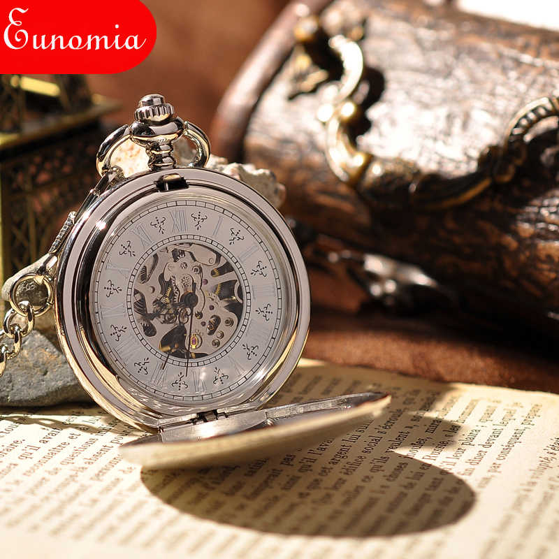 Bạc Lá Chắn Full Hunter Thời Trang Skeleton Đồng Hồ Steampunk Pocket Watch Thương Hiệu Sang Trọng Tay Gió Cơ Nữ Đồng Hồ Bỏ Túi