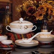 Orange leaf head 56 ceramic bone china tableware suit set household porcelain gifts tableware Jingdezhen dishes