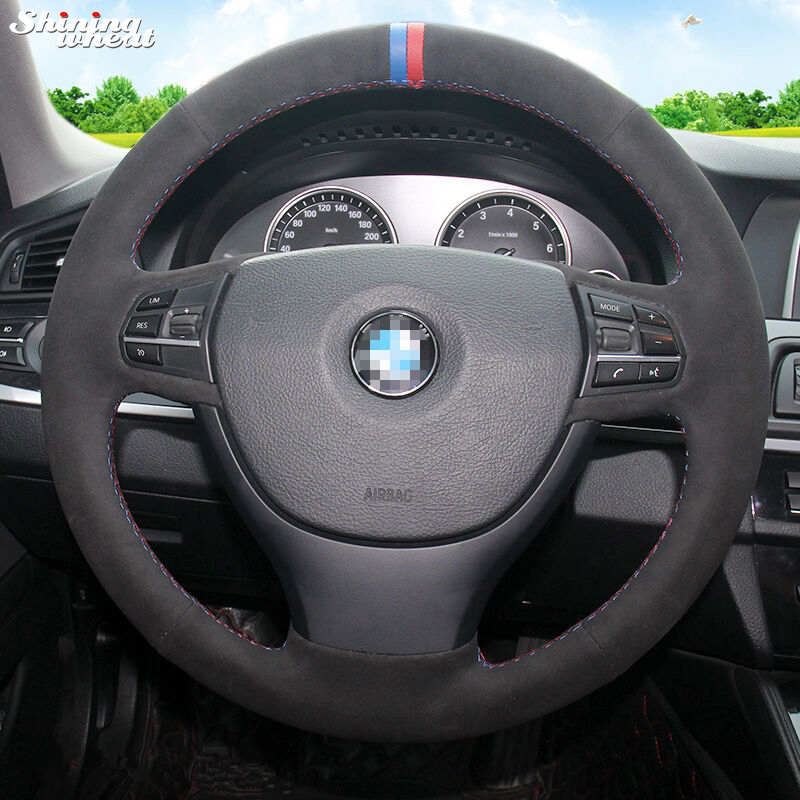 BANNIS Black Suede Hand stitched Car Steering Wheel Cover for BMW F10 523Li 525Li 2009 730Li