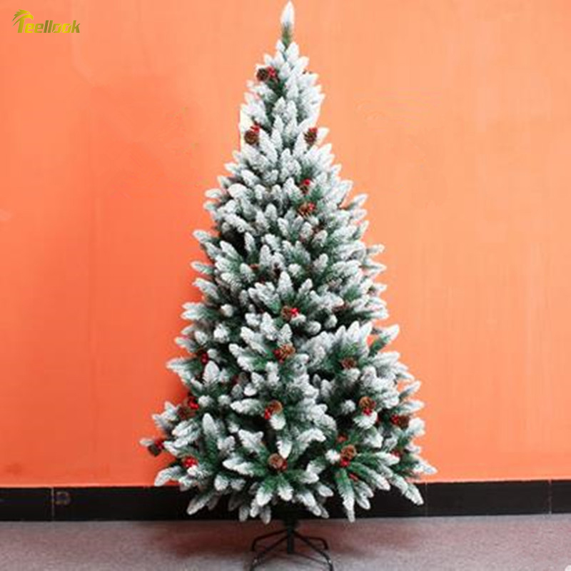Teellook 1.5M / 1.8M / 2.1M / 2.4M Whitehead Red Snow Christmas Tree Christmas House Hotel Scene Decoration image